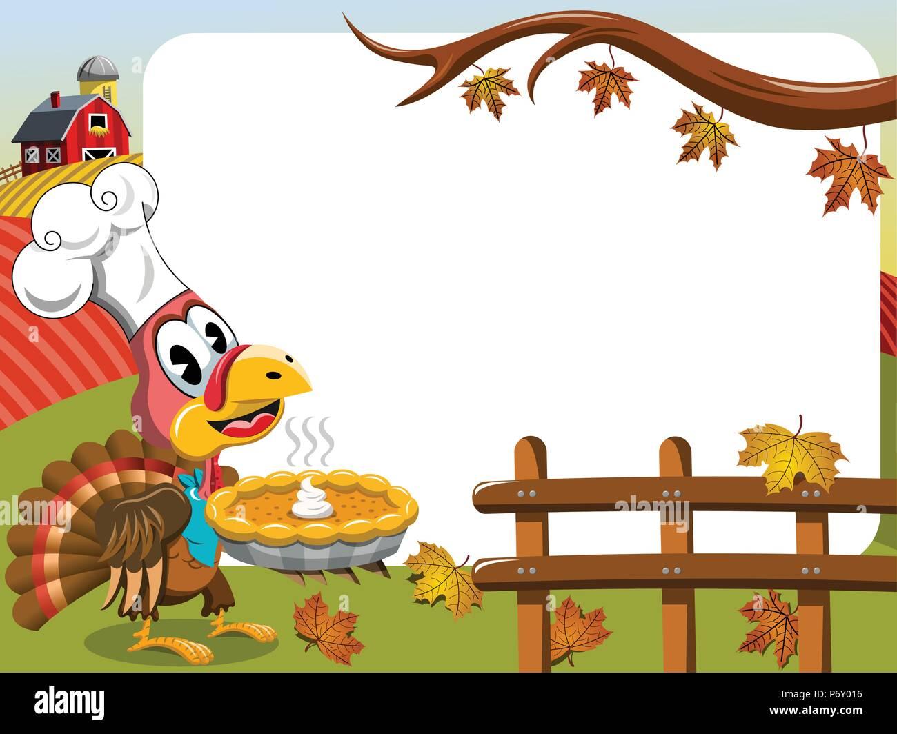 Thanksgiving Day horizontalen Rahmen mit der Türkei Kochen holding Pumpkin Pie Stockbild