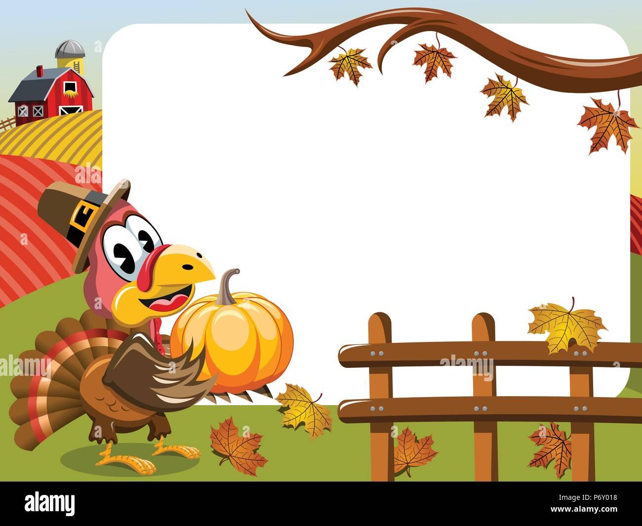 Thanksgiving Day horizontalen Rahmen mit pilgrim Türkei holding Kürbis outdoor Stockbild