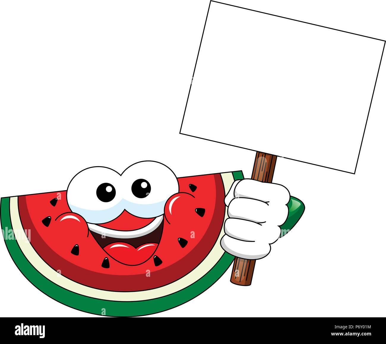 Cartoon Wassermelone Holding leer Banner isoliert Stockbild
