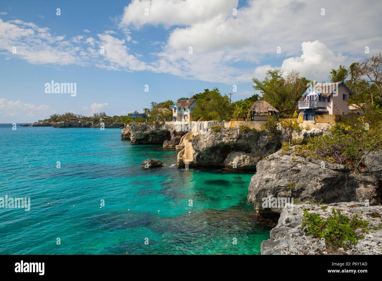 Die idyllische West End, Negril, Westmoreland, Jamaika Stockbild