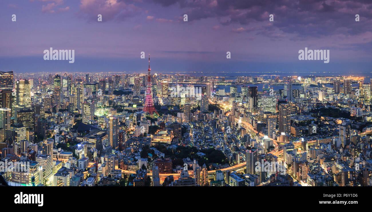 Japan, Tokio, Luftaufnahme von stadtbild und Tokyo Tower Stockbild