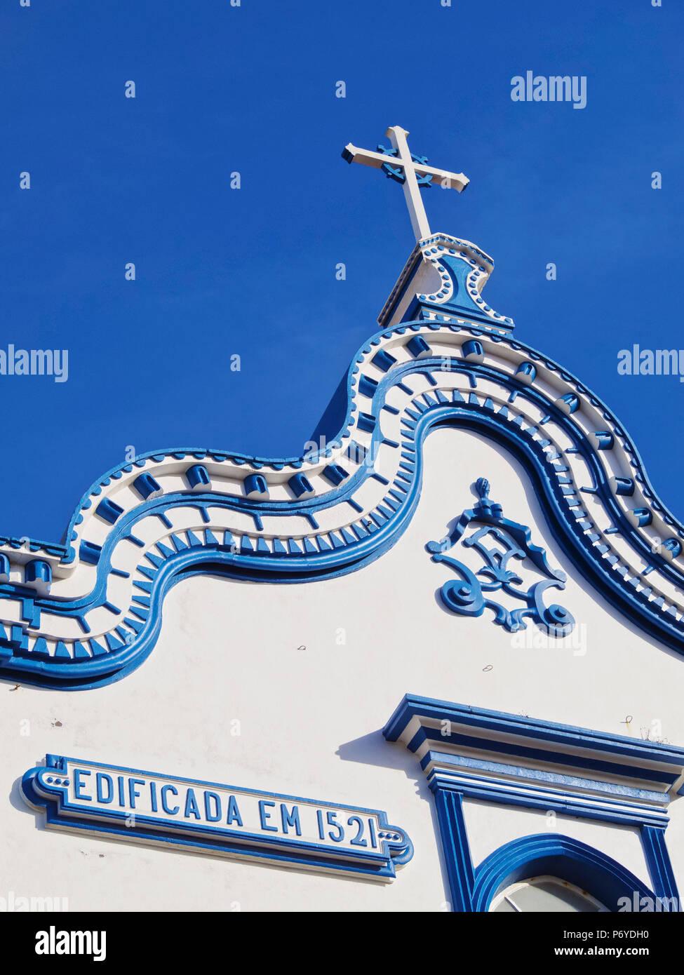 Portugal, Azoren, Terceira, Praia da Vitoria, detaillierte Ansicht der Santo Cristo Kirche. Stockfoto