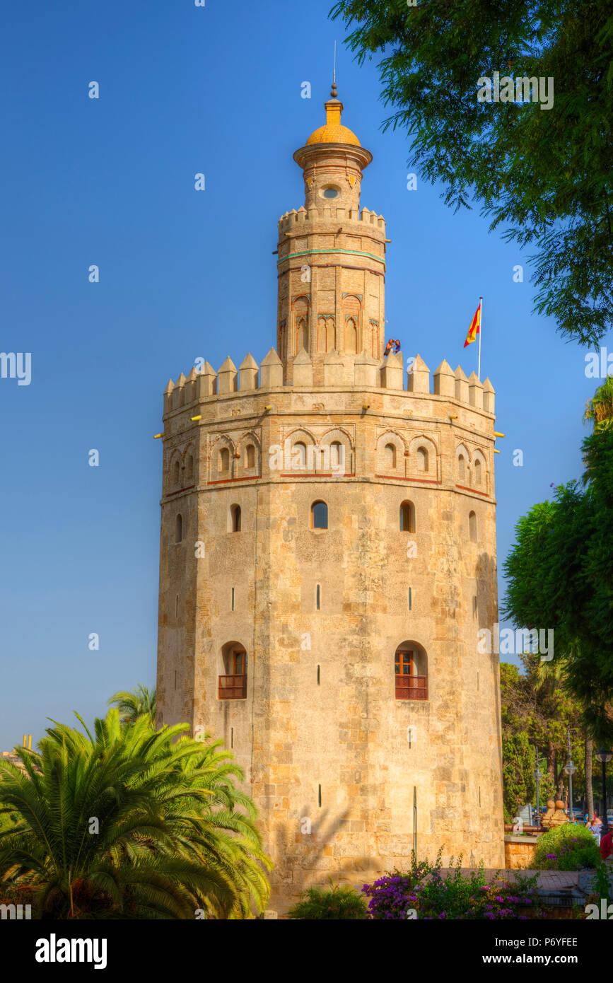 Torre del Oro, Sevilla, Andalusien, Spanien Stockbild