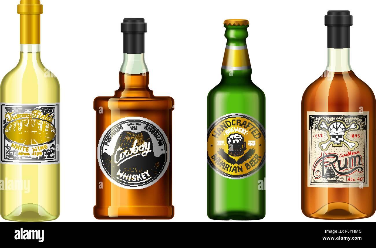 Realistische Alkohol Getränke in einer Flasche mit unterschiedlichen ...