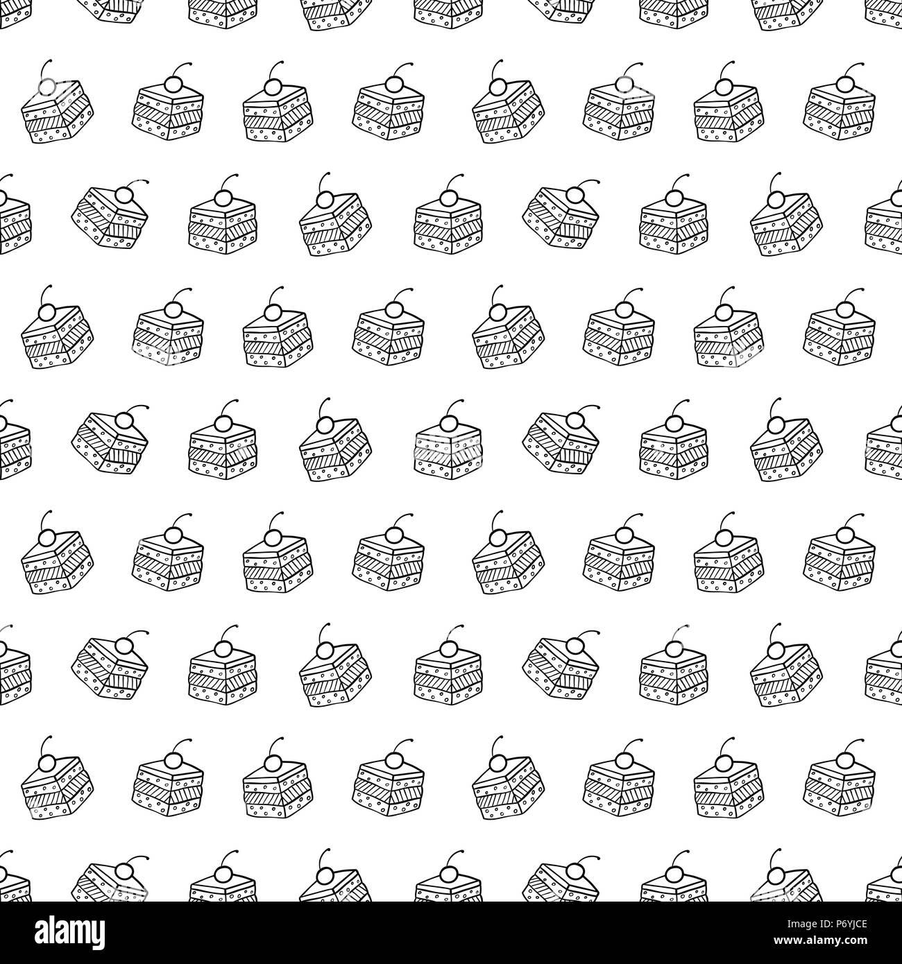 Cartoon süße Kuchen auf weißem Hintergrund. Einfache nahtlose Muster ...