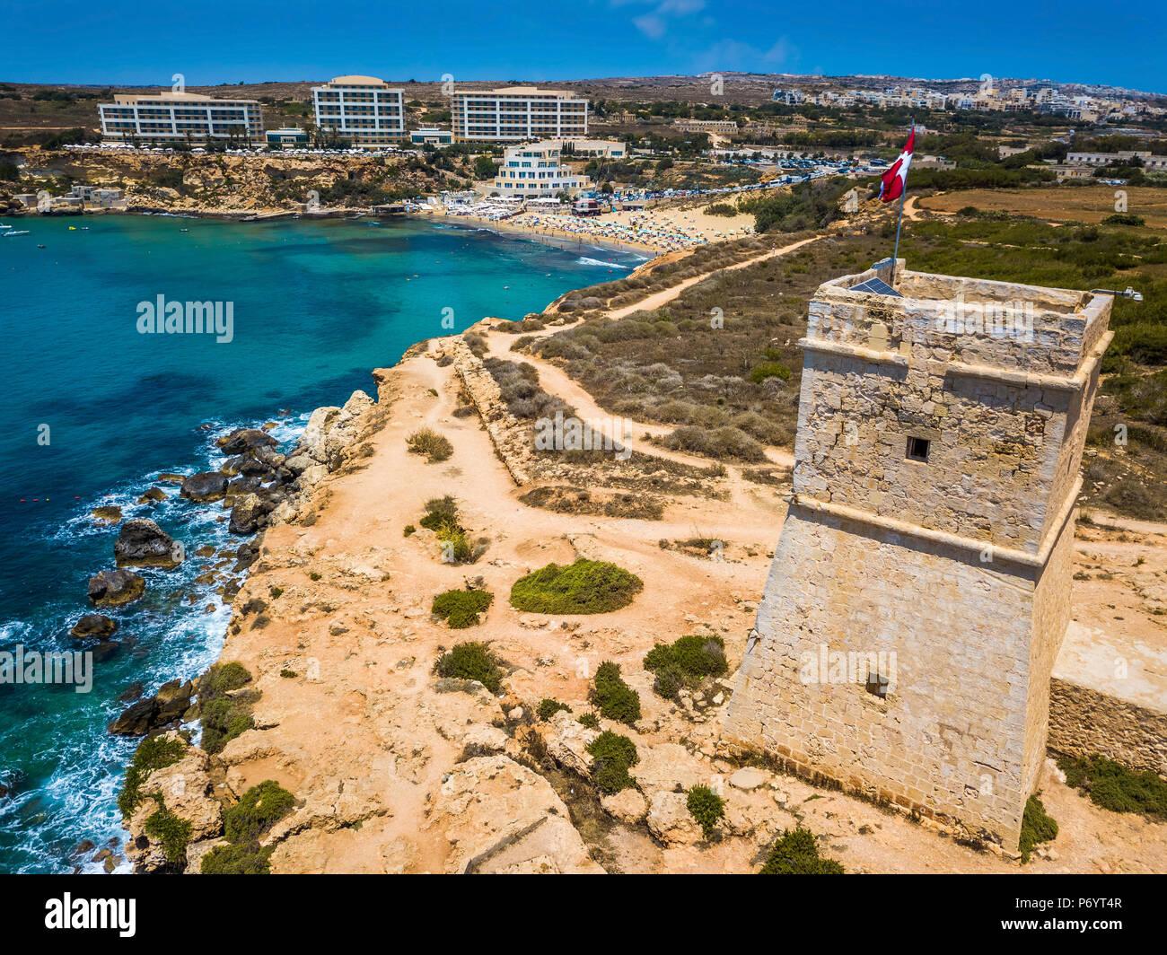 Ghajn Tuffieha Malta Schone Ghajn Tuffieha Watch Tower Und Golden