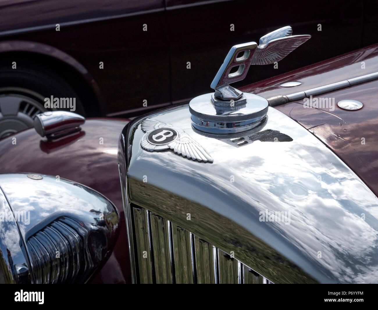 Vintage Bentley auto Maskottchen Stockbild