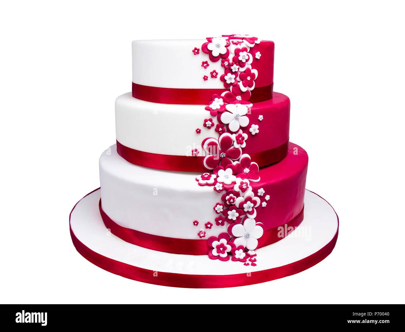 Marshmallow Fondant Multilayer Kuchen Dekoration Isoliert Stockfoto