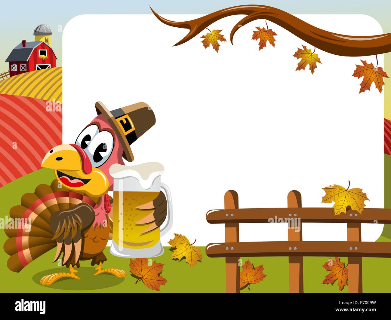 Thanksgiving Day horizontalen Rahmen mit pilgrim Türkei holding Bierkrug Stockbild