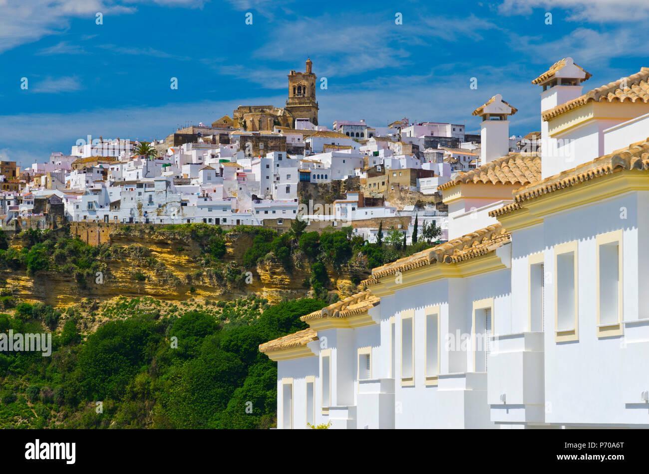 Spanien, Andalusien, Provinz Cadiz, Arcos de la Frontera, ein Pueblo Blanco, weißen Dorf Stockbild
