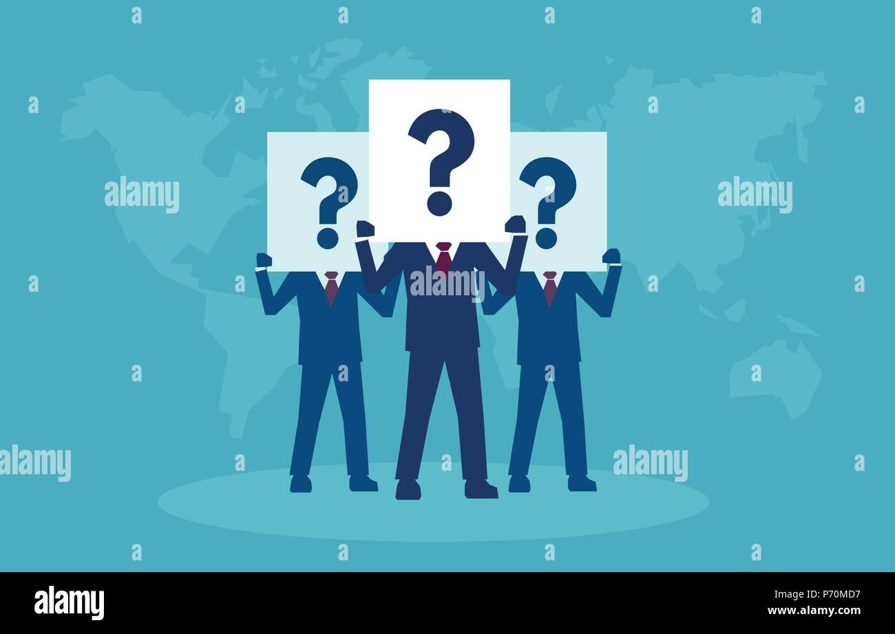 Vektor einer Gruppe von Geschäftsleuten in viele Fragen und Zweifel. Stockbild