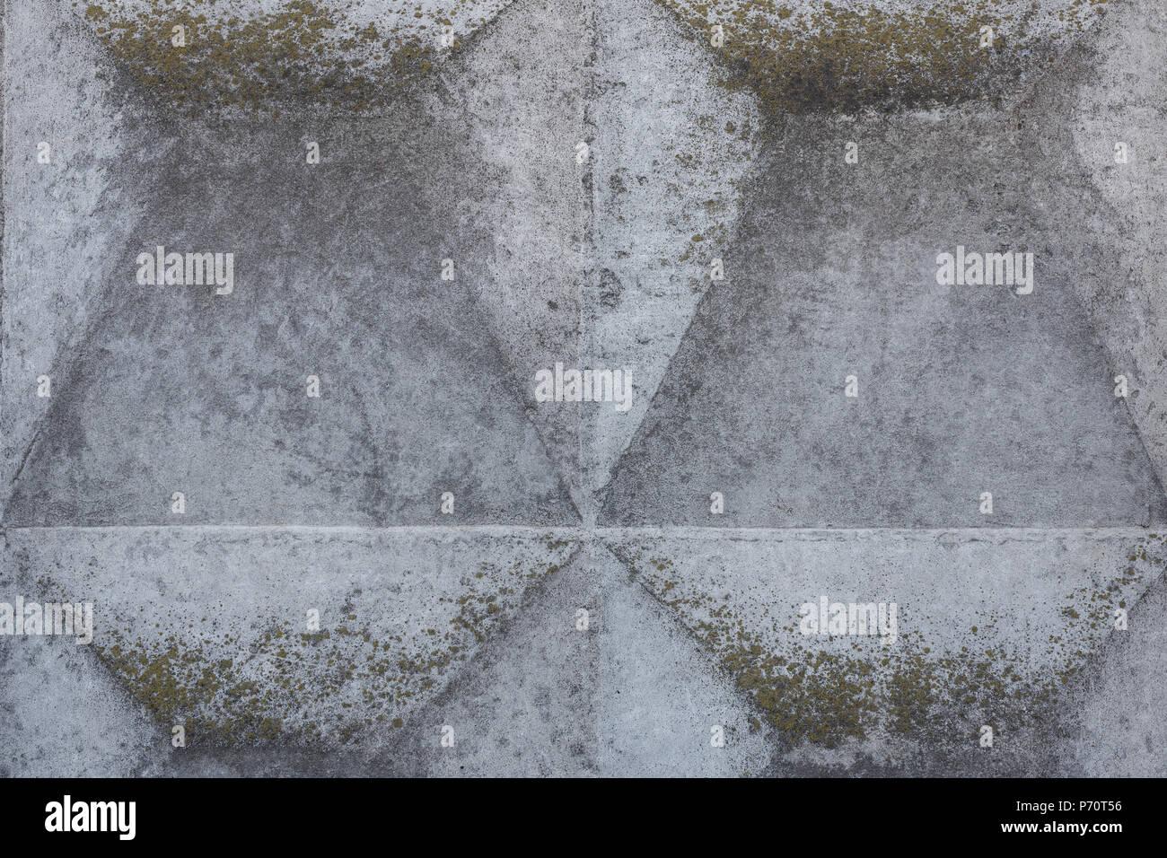 Close Up Detail Von Beton Zaun Mit Geometrischen Erleichterung Grau