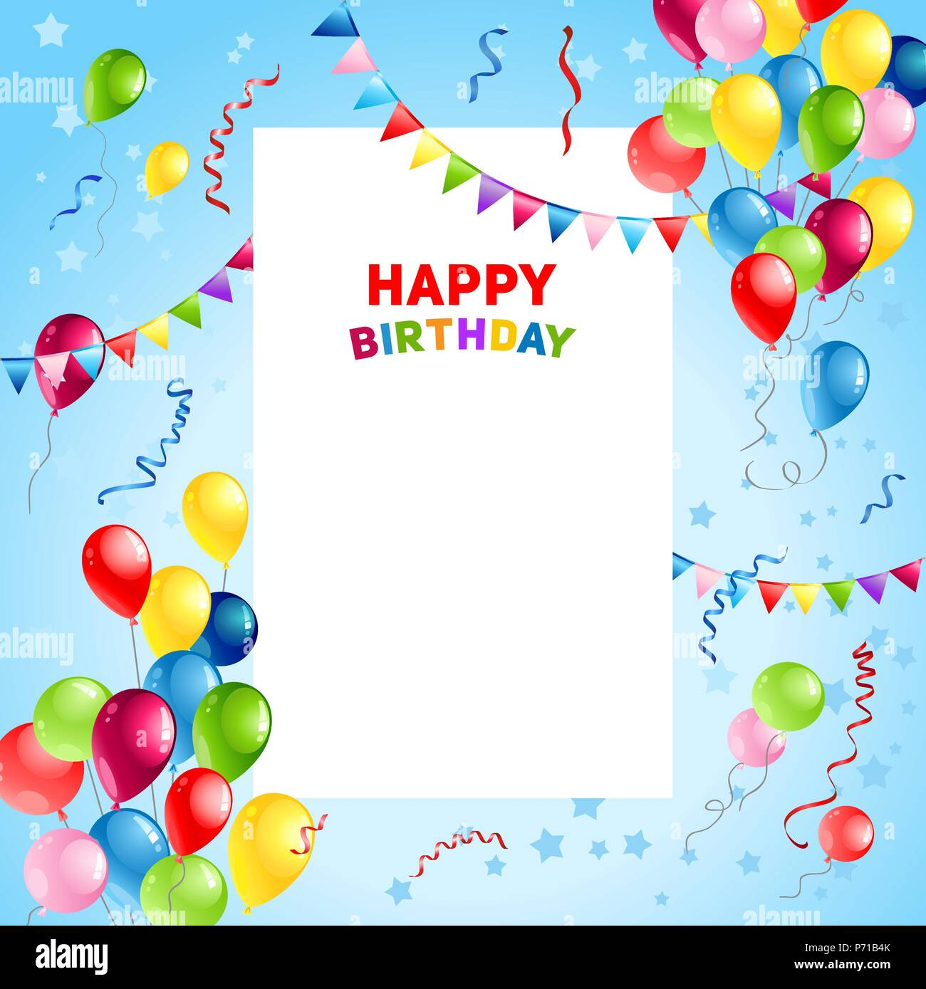 Luftballons Happy Birthday Card Template