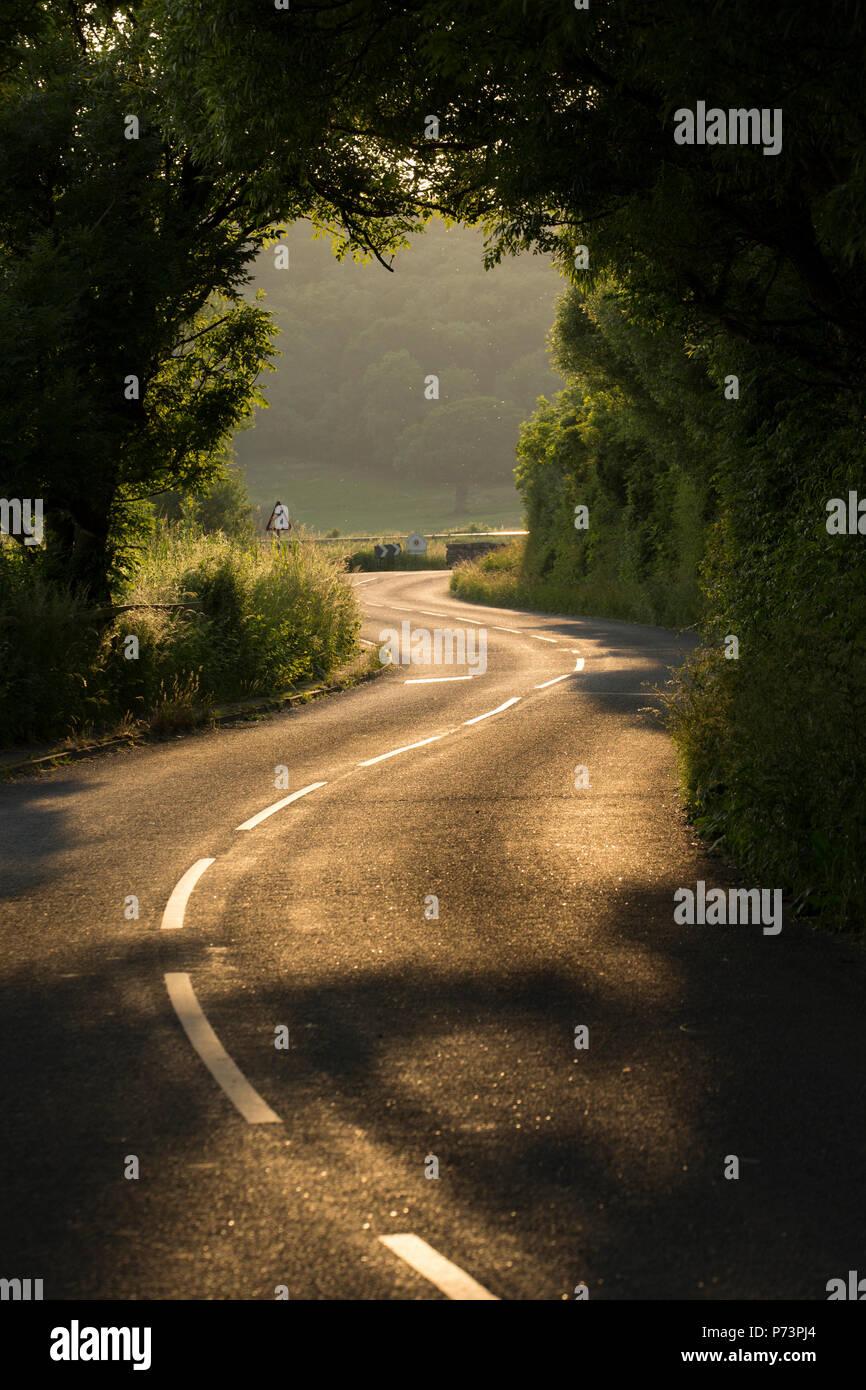 Eine kurvenreiche Straße am Abend zwischen Warton und Silverdale in Lancashire England UK GB Stockbild