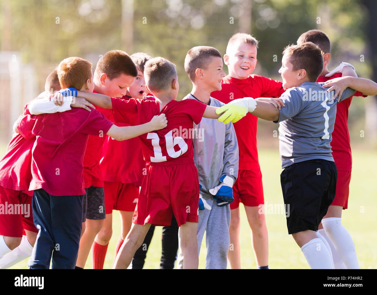 Kinder Fussball Fussball Jungen Kindern Spieler Feiern In