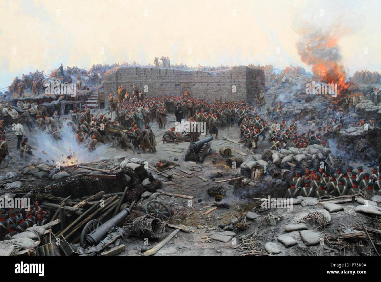 Franz Roubaud (gestorben 1928). Detail seiner Panoramablick auf die Malerei der Belagerung von Sewastopol (1904). 1904 161 Malakhov 2 Stockbild