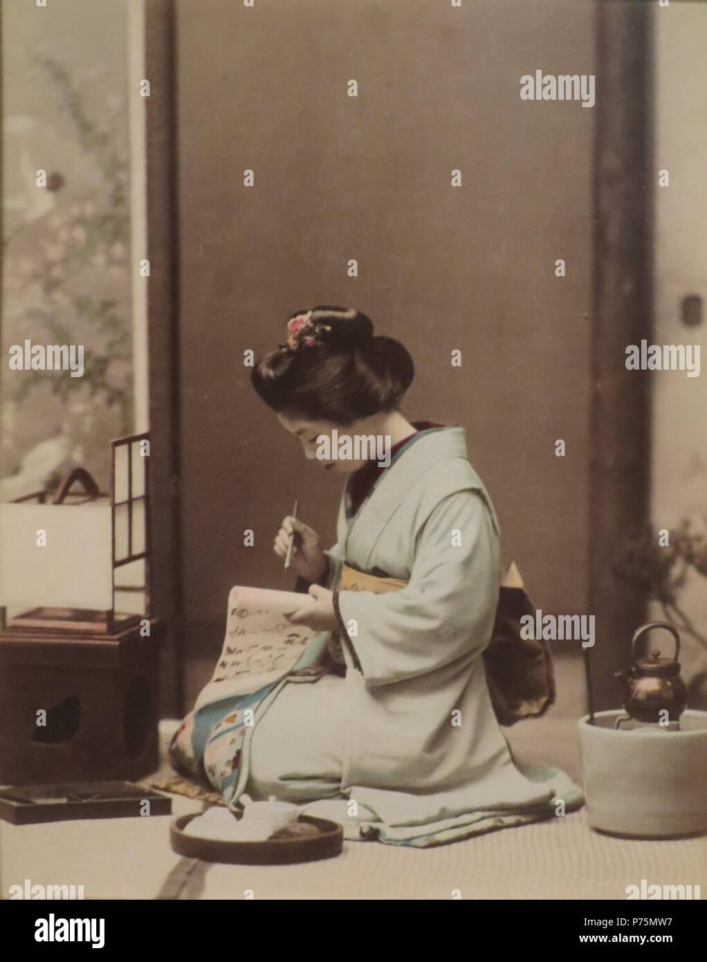 Englisch Frau Einen Brief Schreiben Von Ogawa Kazumasa C 1890