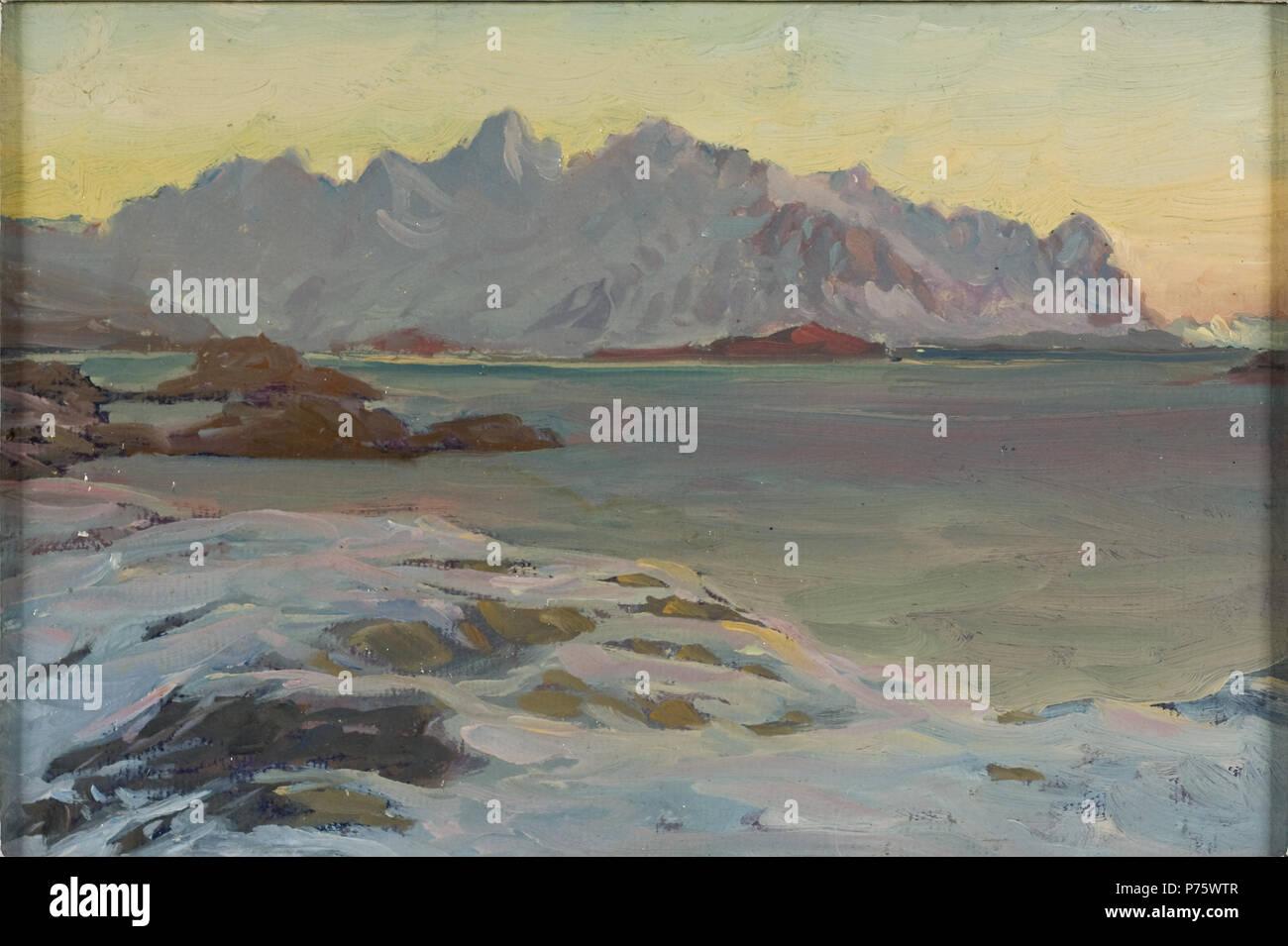 . Englisch: Berge. Studie von Nord Norwegen Svenska: Fjäll. Studie från Nordlandet Datum unbekannt 167 Berge. Studie von Nord Norwegen (Anna Boberg) - Nationalmuseum - 21358 Stockbild