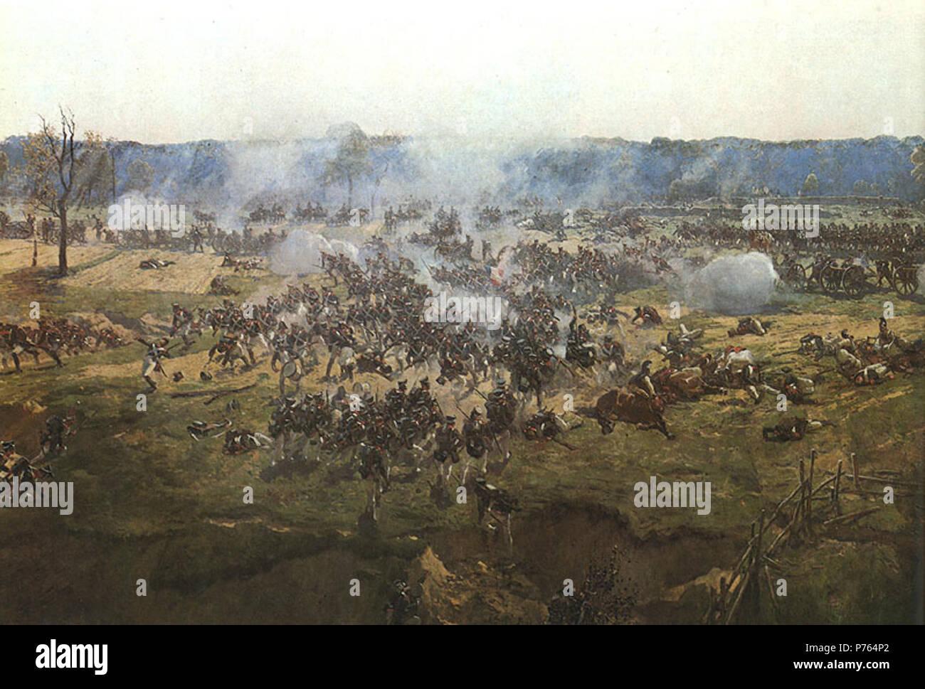 En: Bagration flèches, Detail von seinem Panoramablick auf die Malerei der Borodino Schlacht (1912). 1912 203 Roubaud Erweiterungsperspektive berücksichtigt wird Stockbild