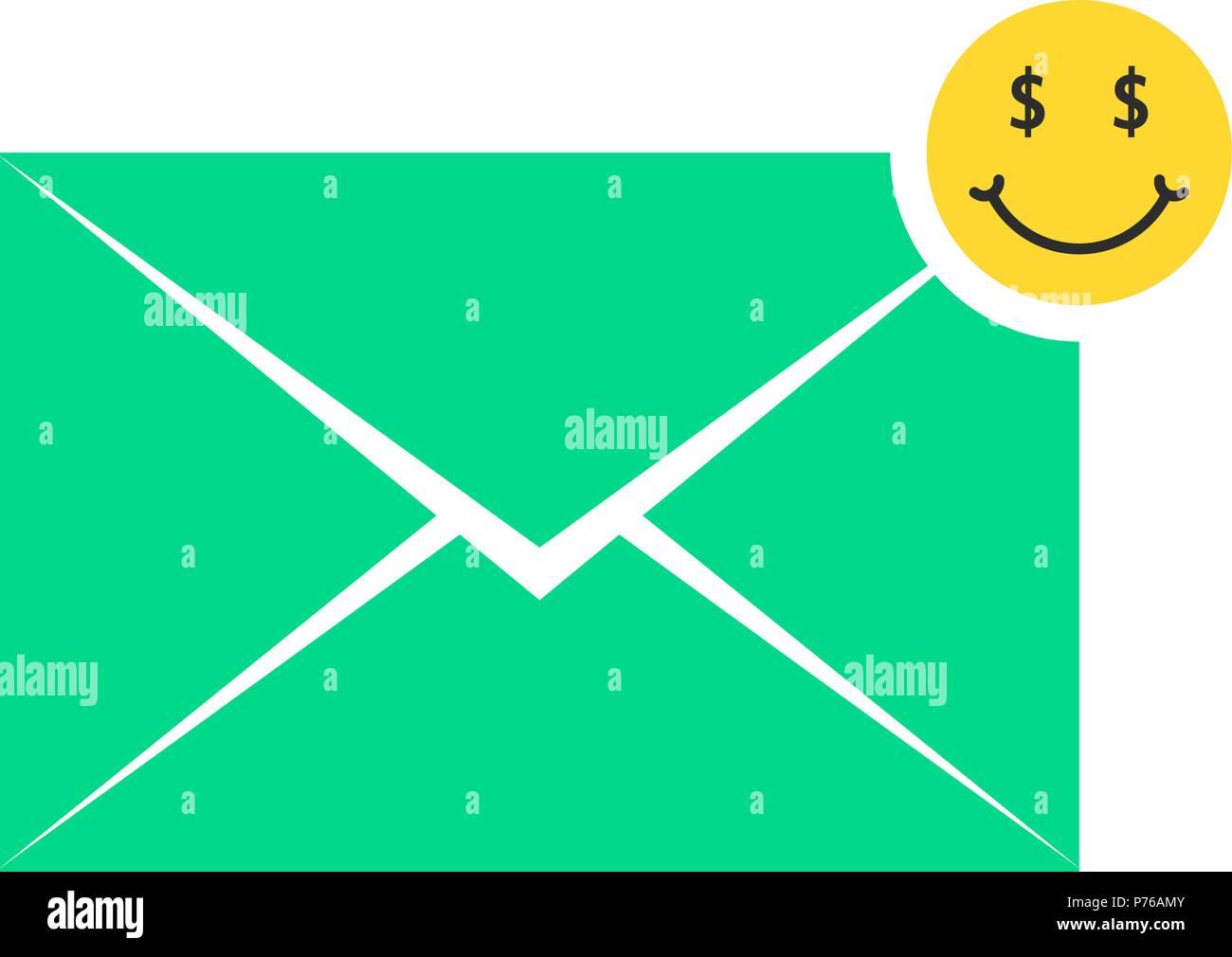 Grüne Kommerzielle Angebot Schreiben Symbol Mit Emoji Vektor