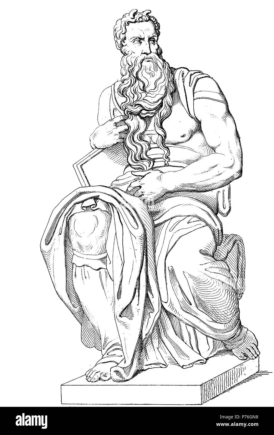 Moses war ein Prophet in der abrahamitischen Religionen, digital verbesserte Reproduktion einer Vorlage drucken aus dem Jahr 1881 Stockbild