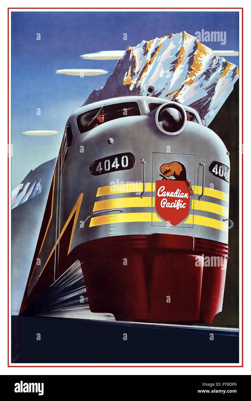 Jahrgang 1950 Rail Poster Grafik Canadian Pacific Railway Company-Diesellok Zug - Logo Biber Schild - Vintage Railroad Reisen Poster von Peter Ewart c. 1950 Werbung Transport Werbung Bahn Werbung Canadian Pacific Railway Canadian Pacific Zug Stockbild