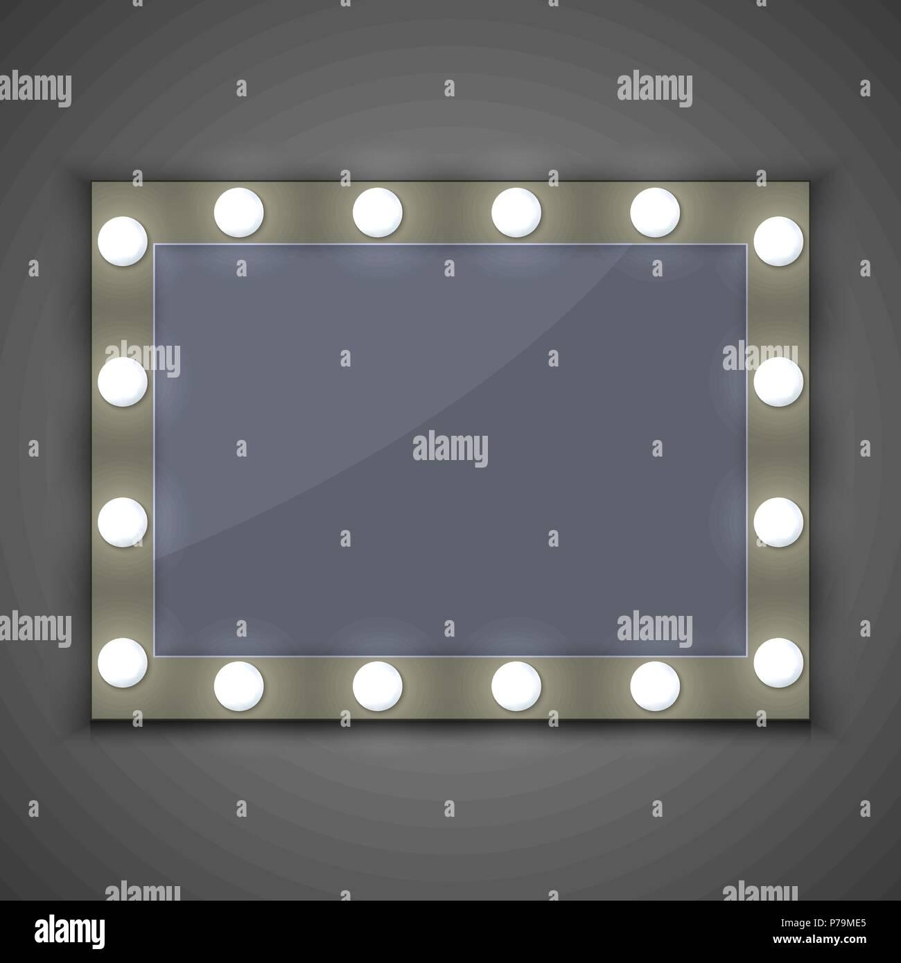 Häufig Schminkspiegel mit Licht Lampe Vektor Abbildung - Bild: 211040653 LO62