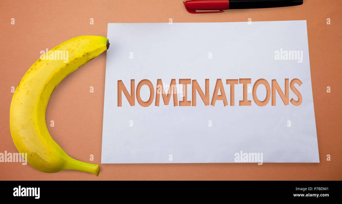 Text Zeichen Nominierungen Angezeigt Konzeptionelle Foto Vorschlage
