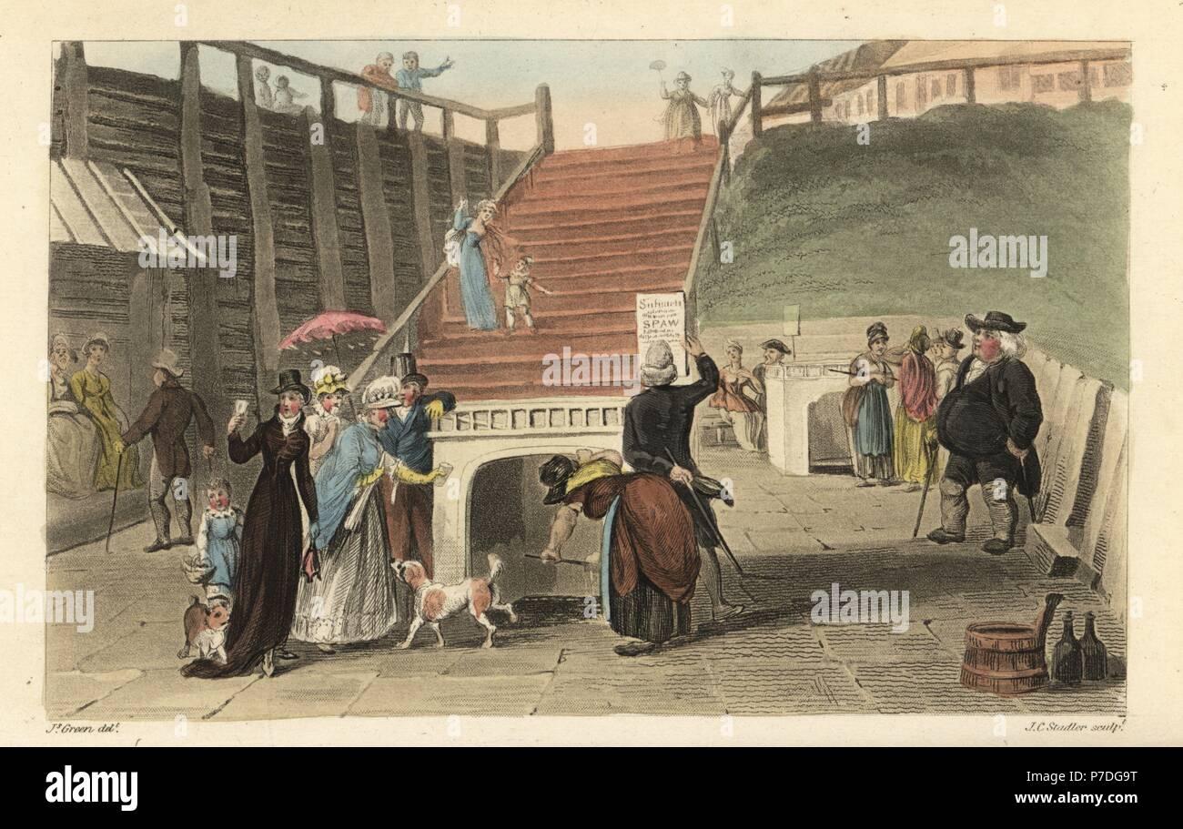 Poetisch Brunnen.Das Spa Wells Touristen Trinken Das Wasser Aus Dem Brunnen