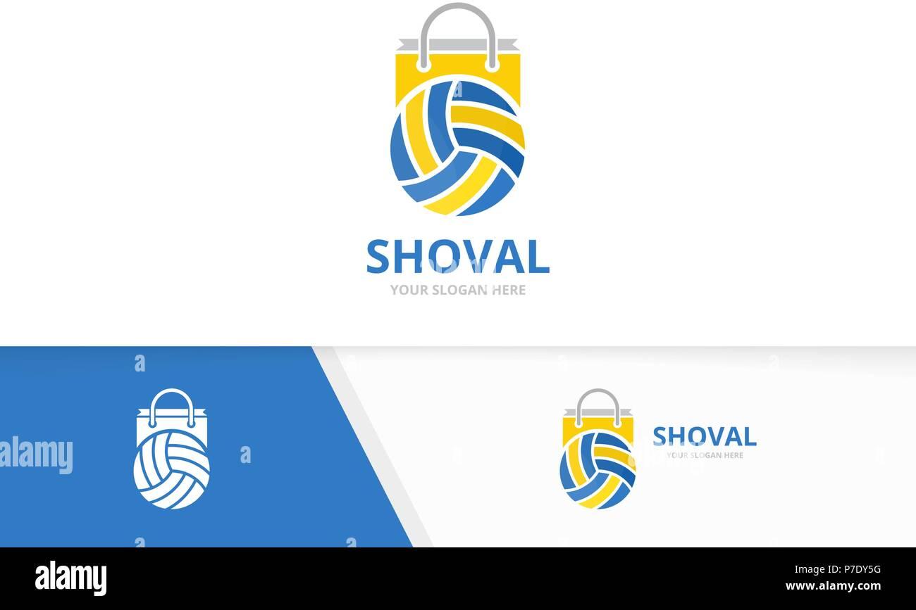 vektor volleyball und shop logo kombination spielen und verkauf symbol oder icon einzigartige kugel und markt logo design template
