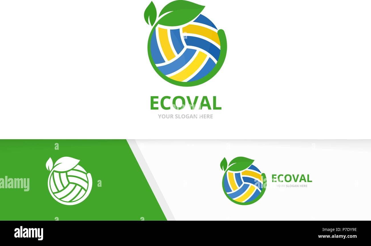 vektor volleyball und leaf logo kombination spielen und pflanze symbol oder icon einzigartige kugel und organischen logo design template