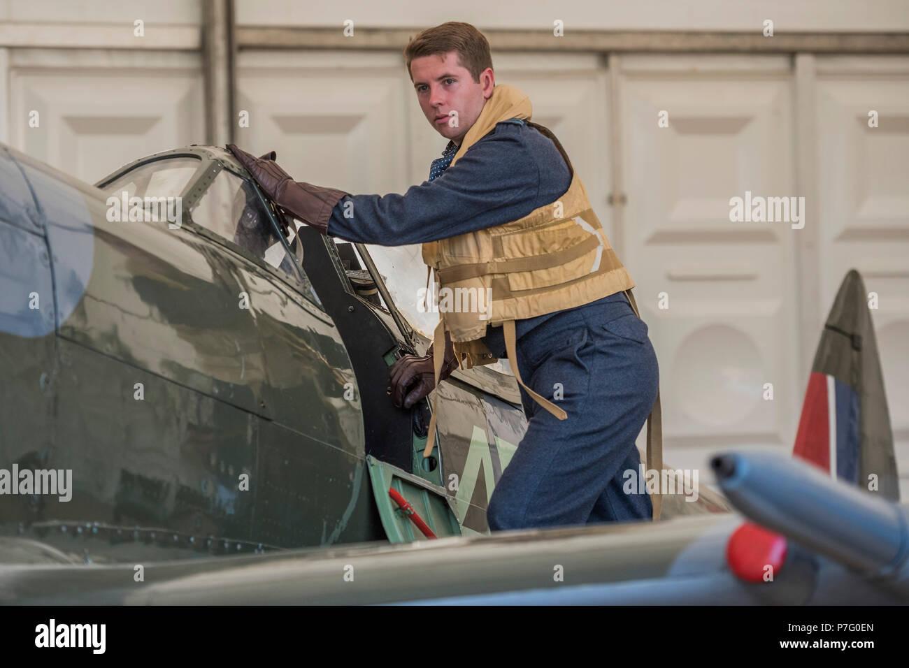 London, Großbritannien. 6. Juli 2018. Pilot Officer Ben Davidson in ...