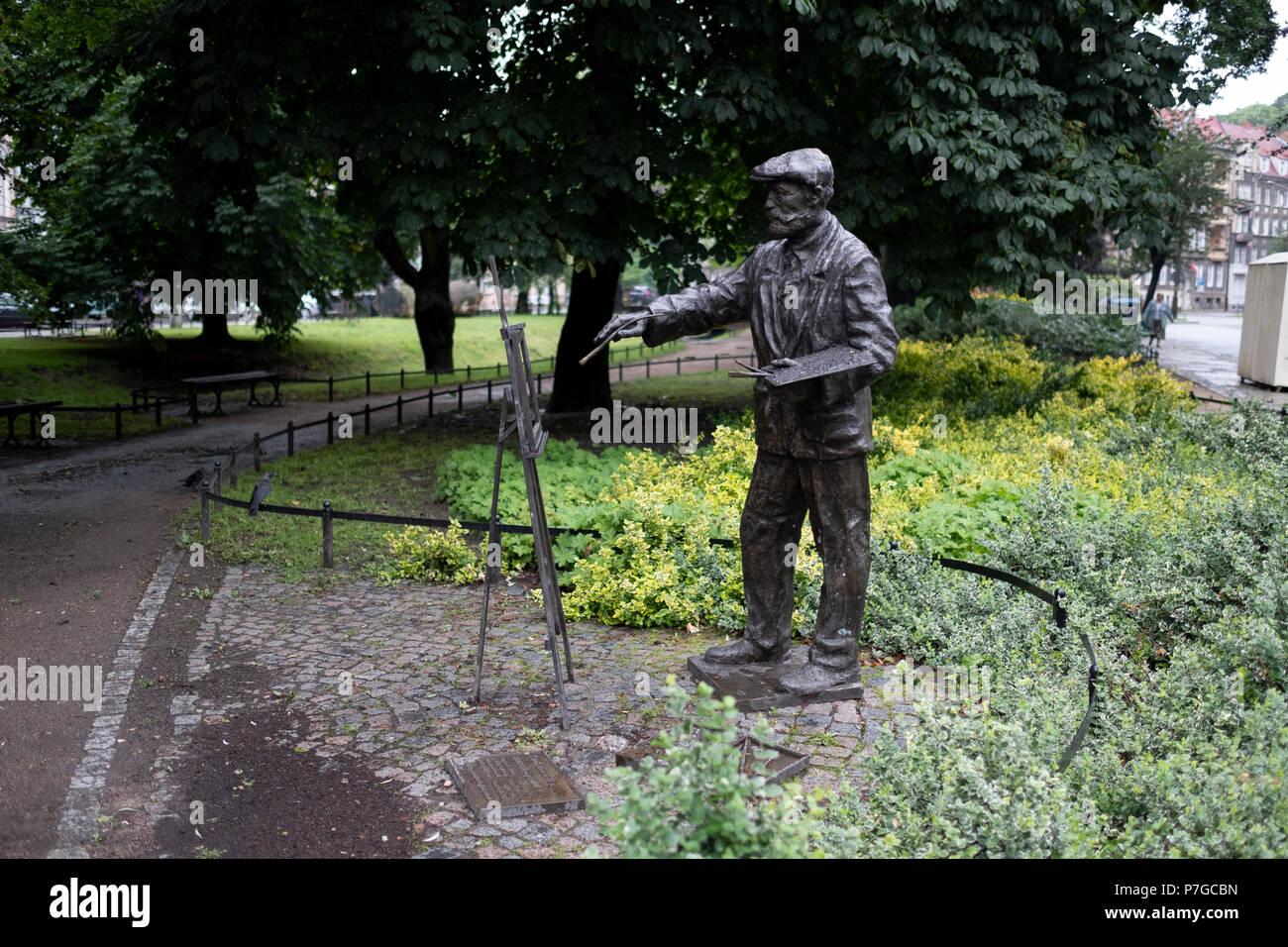 Ein Denkmal deutscher Maler und Zeichner Ernst Henseler in Gorzów Wielkopolski, Woiwodschaft Lebus, Polen. Stockbild