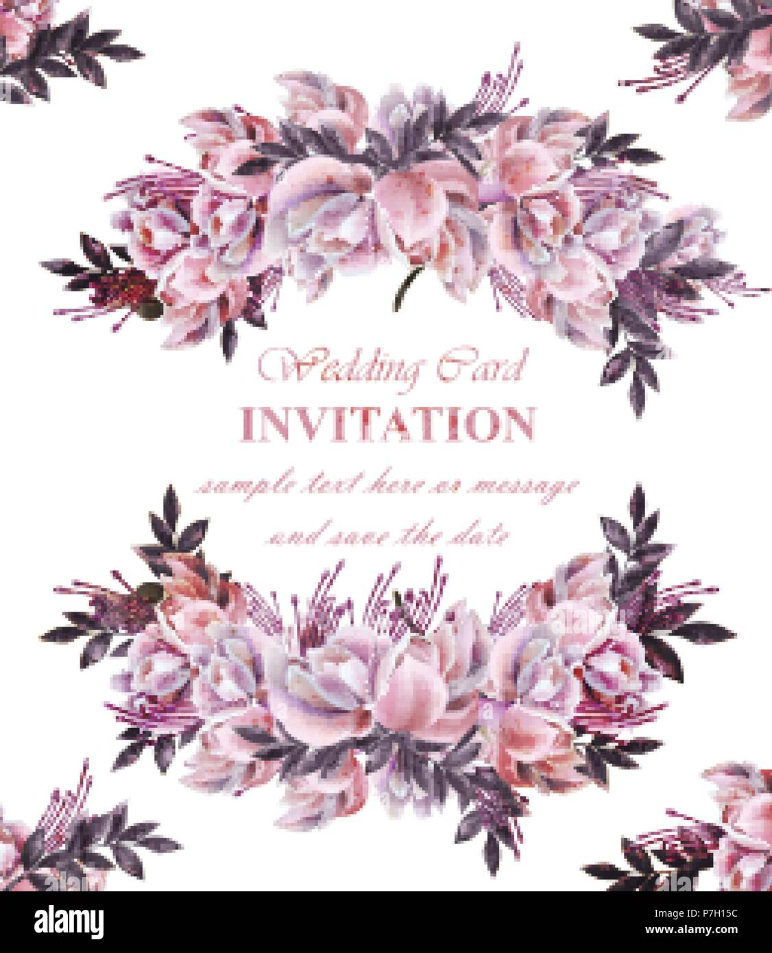 Vintage Hochzeit Karte Mit Rosen Kranz Vektor Schone Blumen