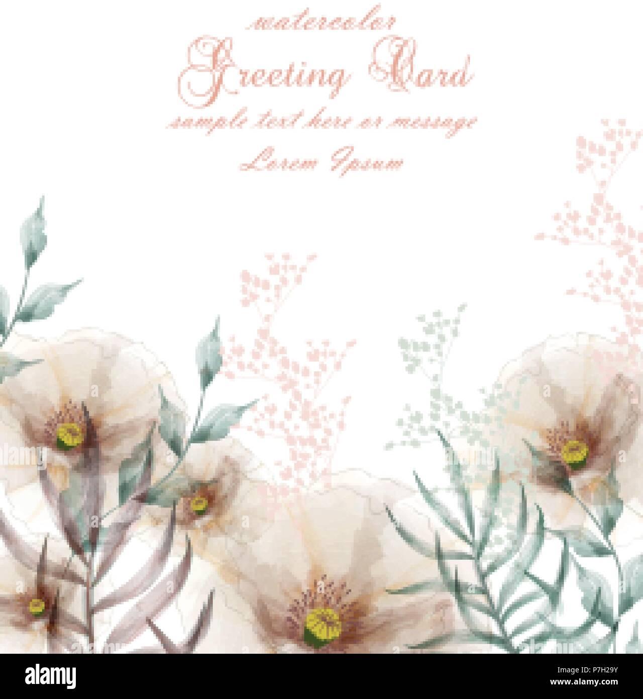 Aquarell Blumen Frame Blute Karte Vektor Vintage Blumen Hochzeit