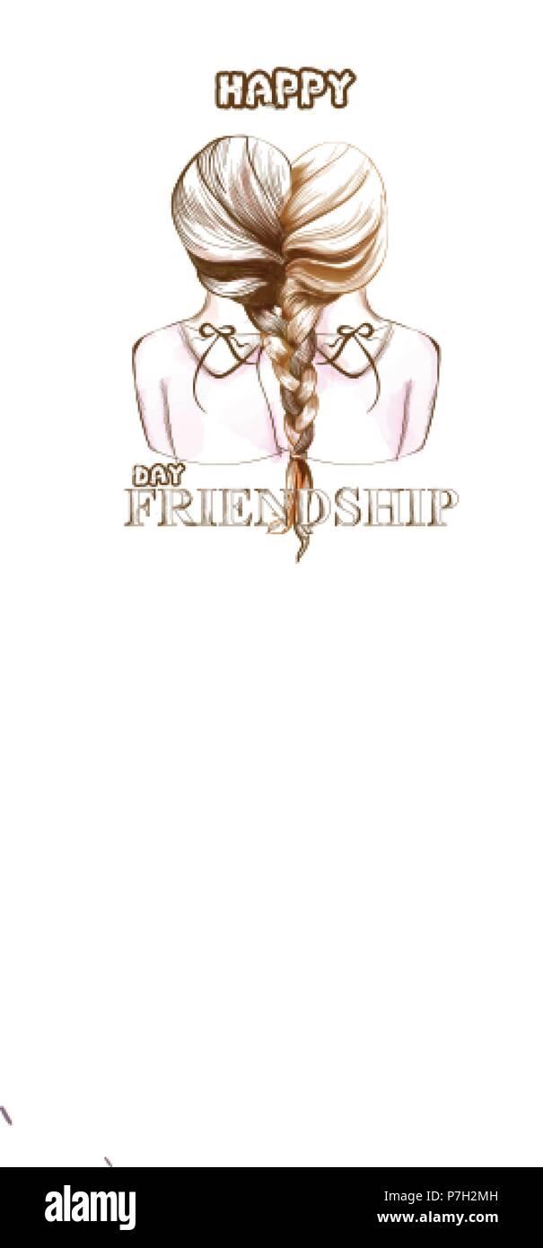 Glückliche Freundschaft Tag Karte Vektor Zwei Mädchen Die