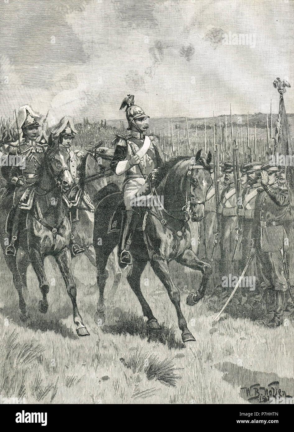 Zar Nikolaus der Überprüfung seiner Truppen, Sewastopol, 1855, der Krimkrieg Stockfoto