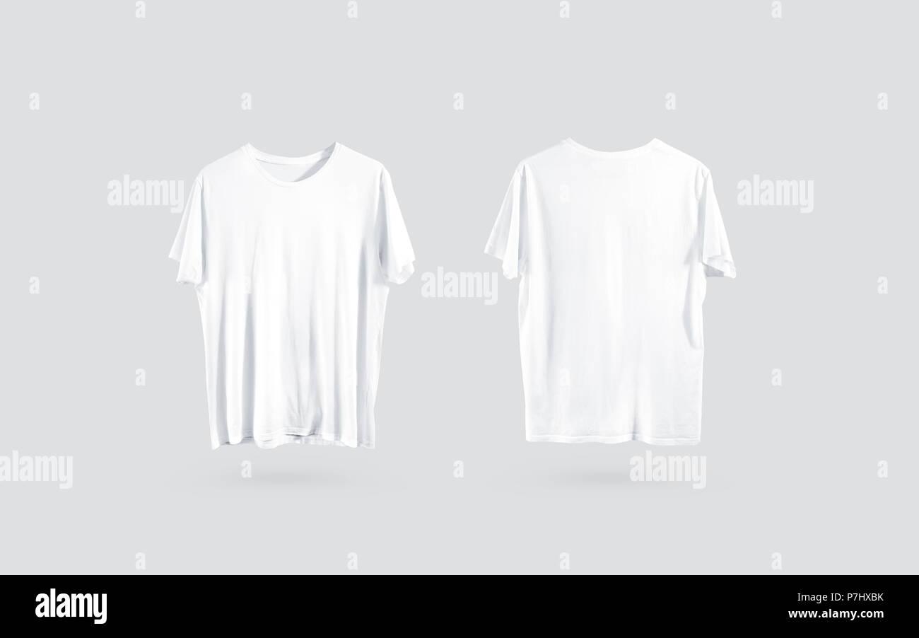 Leere weiße t-shirt Vorderseite und Rückseite sehen, Design mockup ...