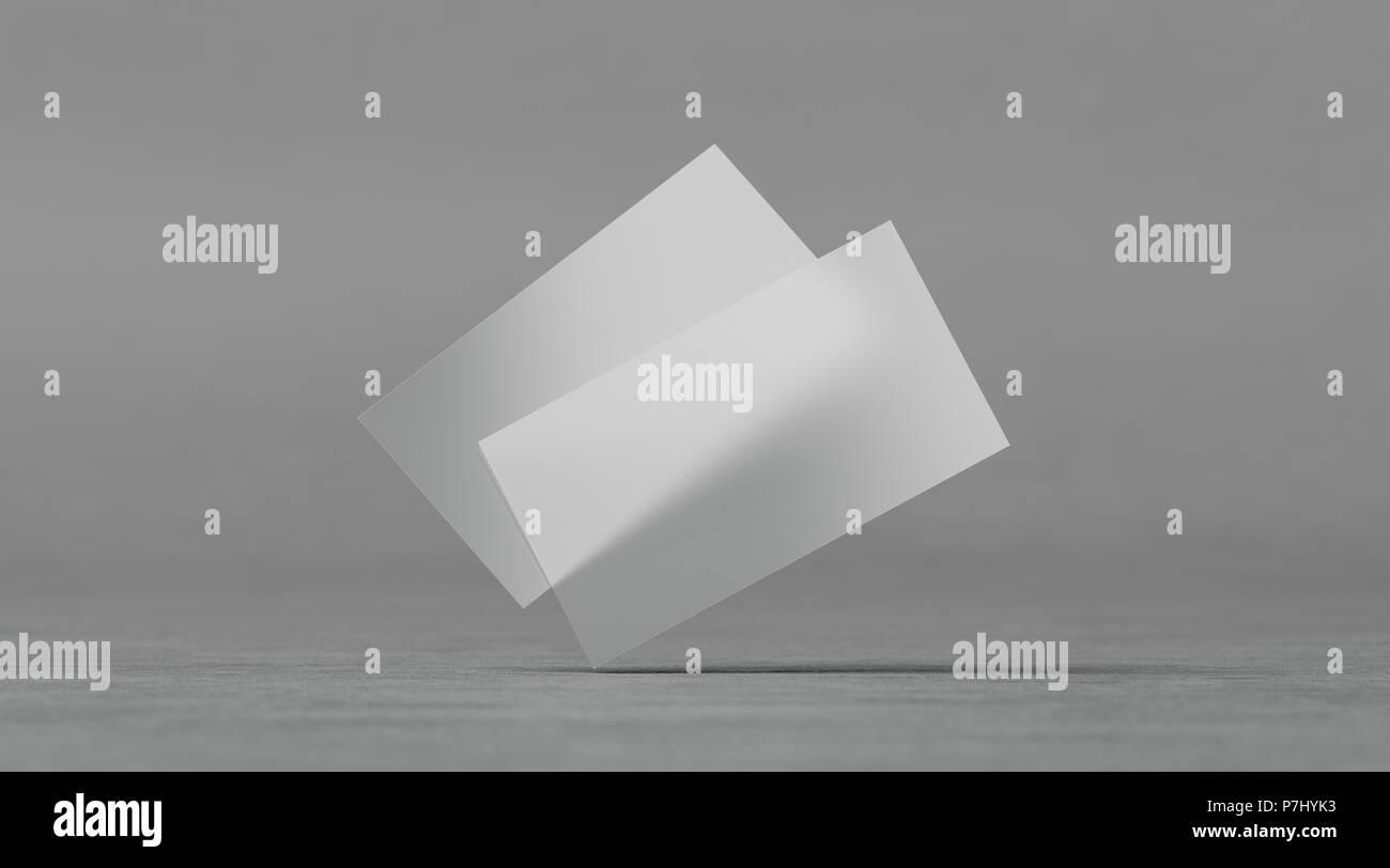 Leere Kunststoff Transparente Visitenkarten Mockups 3d