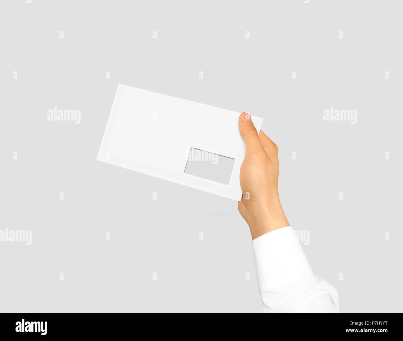 Weiße Leere Briefumschlag Mock Up Holding In Der Hand Leere Post