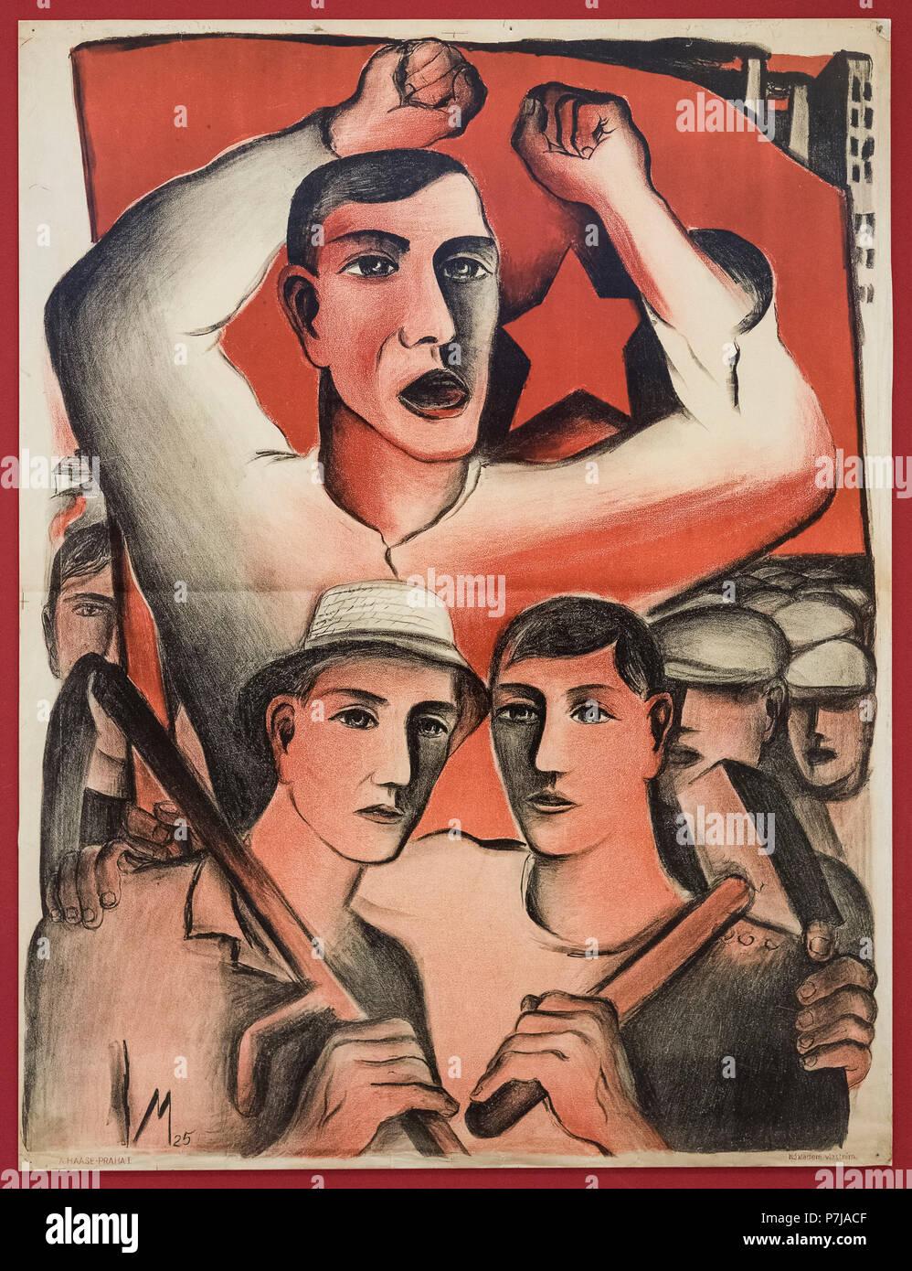 Wahlplakat der Kommunistischen Partei der Tschechoslowakei, 1925. National Gallery in Prag (Národní galerie v Praze). Lithographie, von A.Haas gedruckt Stockbild