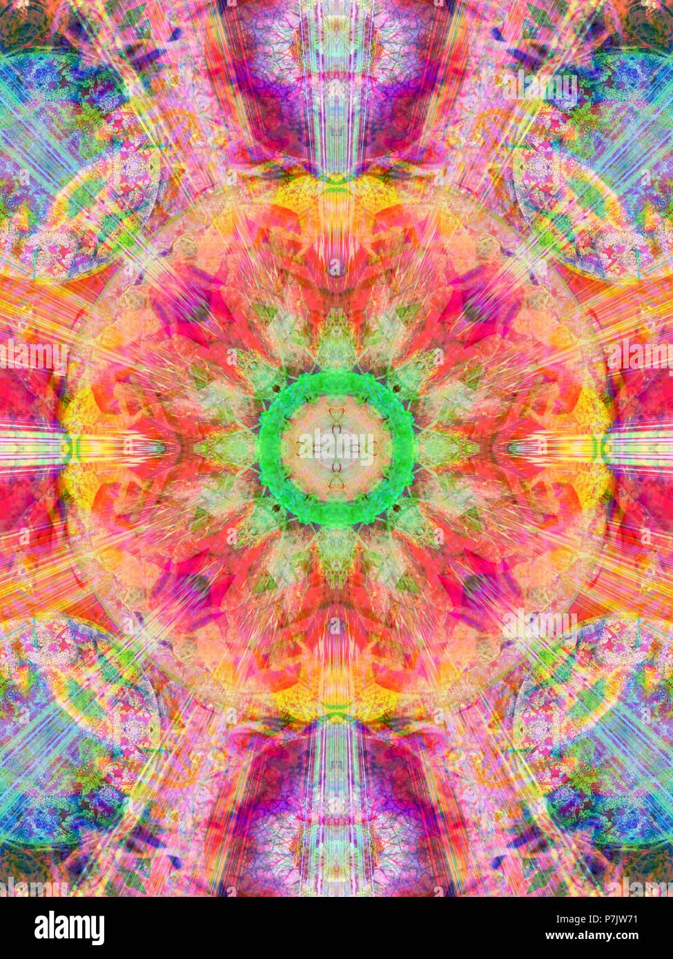 Fotografische Blume Mandala Bunt Farbenfroh Stockfoto Bild