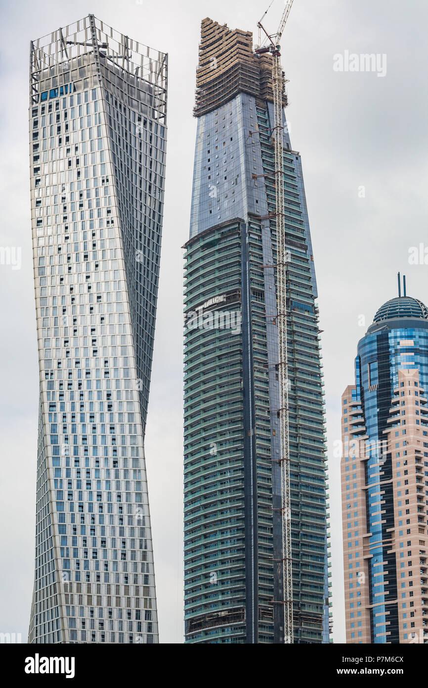 Perspektive detaillierte Ansicht in einem Wolkenkratzer in Dubai, Vereinigte Arabische Emirate, Bau eines Hochhauses Stockbild