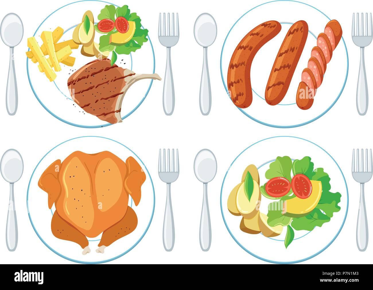 Eine Reihe von gesunden Lebensmitteln Abbildung Stockbild