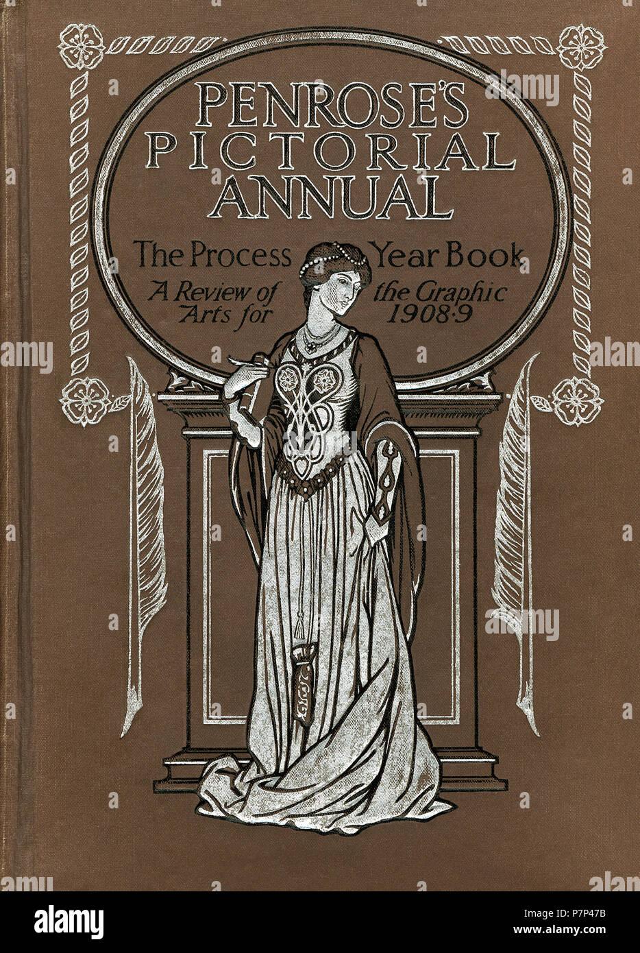 Vordere Abdeckung des Penrose bildliche Jährliche. Der Prozess Jahr Buch: eine Überprüfung der Graphic Arts 1908-9. Stockbild