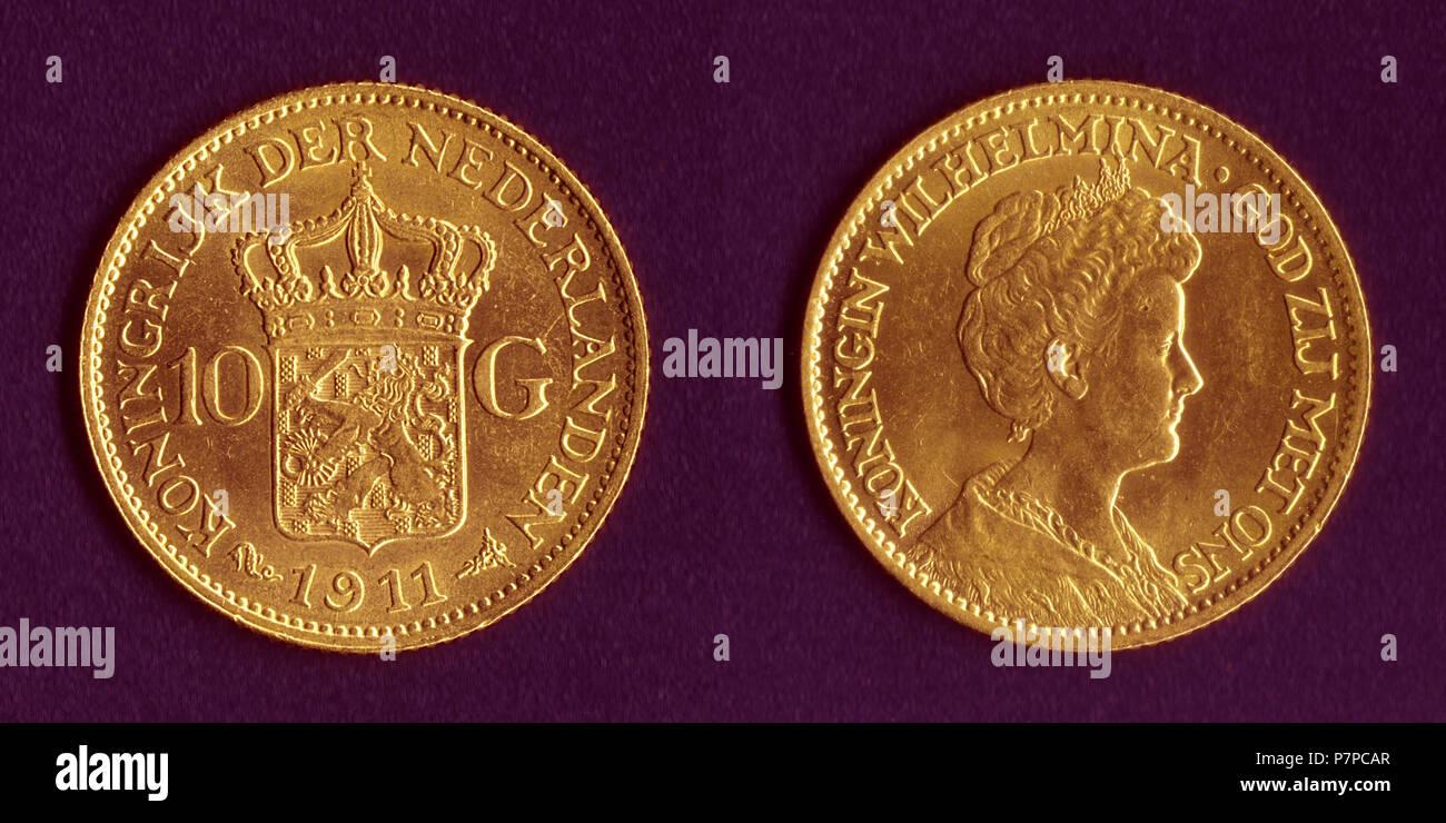 Englisch Niederlande 10 Gulden Münze Jahr 1911 Leiter Königin