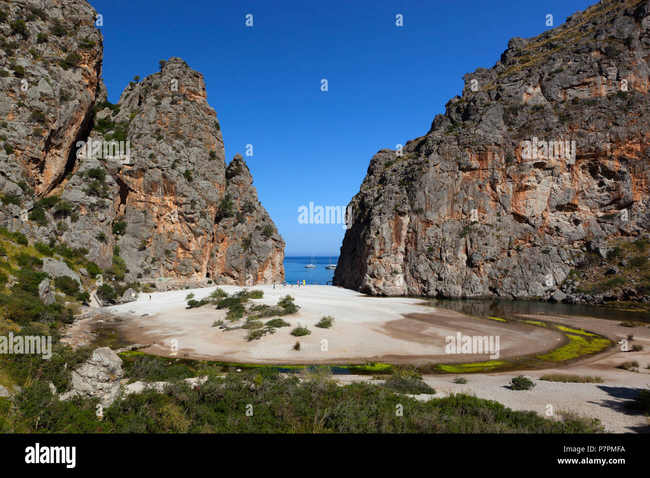 Platja de Torrent de Pareis auf Mallorca Stockbild