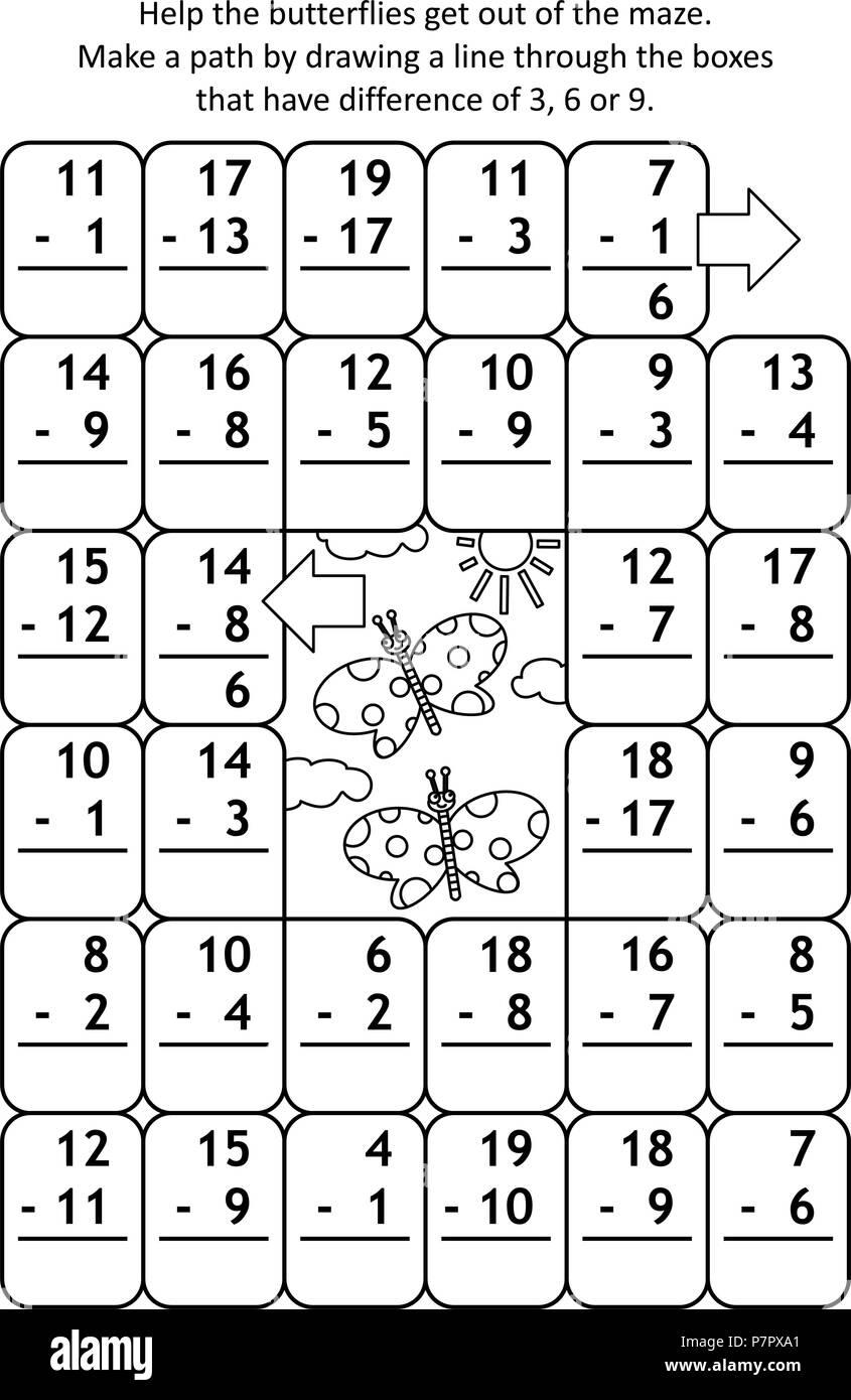 Mathe Labyrinth mit Subtraktion Fakten: Helfen die Schmetterlinge ...