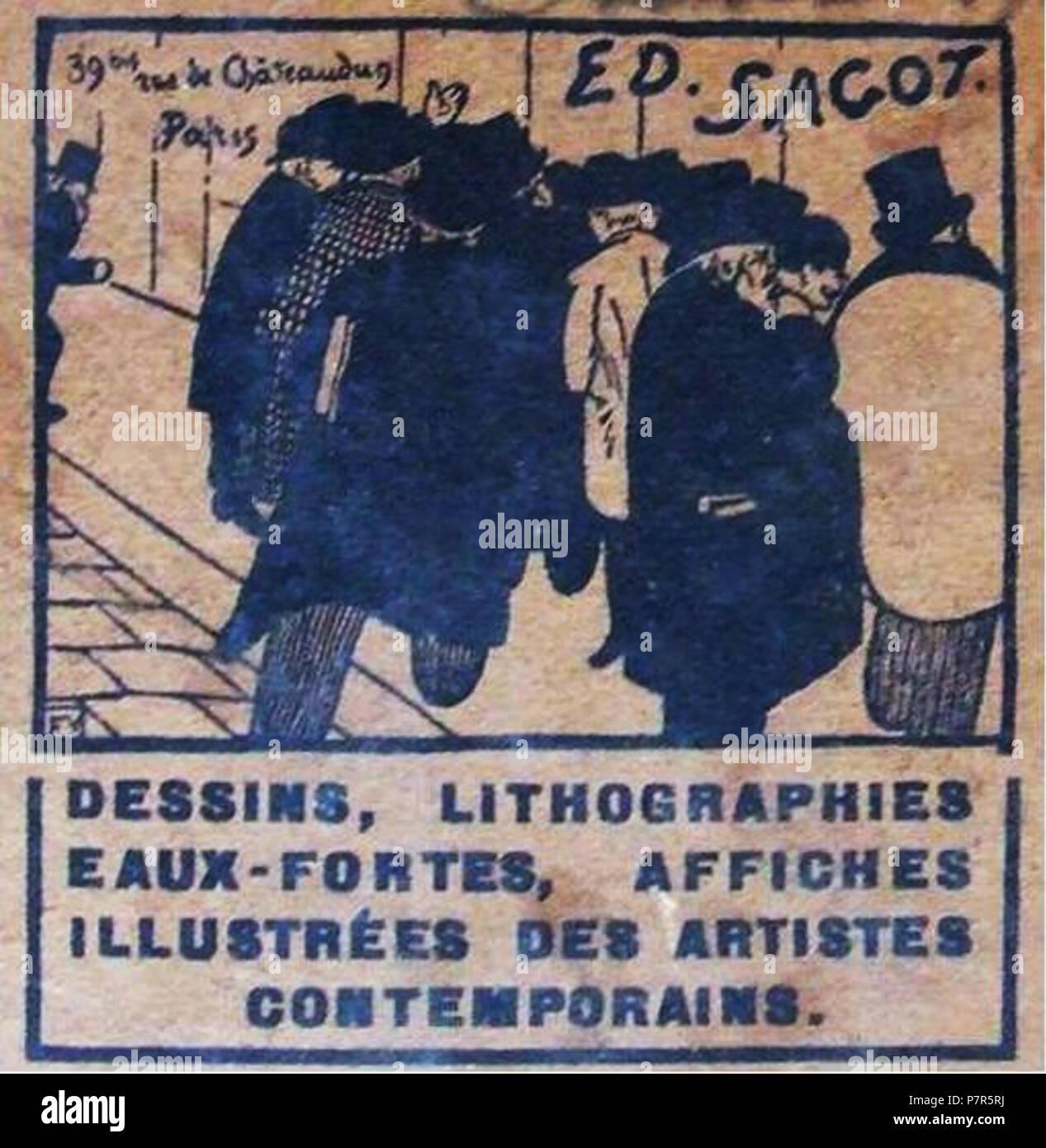 Francais Carte De Visite Professionnelle Librairie Et Marchand Dart Edmond Sagot Paris Gravure Sur Bois Design Von Felix Vallotton Les Amateurs