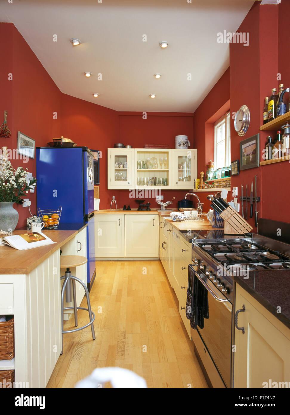 Sortiment Edelstahl Backofen In Rot Pantryküche Mit Hellen Blauen  Kühlschrank Mit Gefrierfach